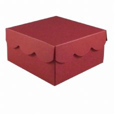 Wine Red Scalloped Lid Designer Favour Boxes